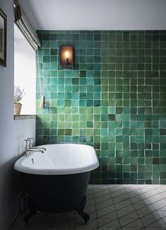 green bathroom The Barn Suites bathroom at Artist Residence Oxfordshire featuring Emery et Cie green tiles and rolled top bath Bad Inspiration, Bathroom Inspiration, Modern Bathroom Design, Bathroom Interior, Bathroom Designs, Roll Top Bath, Best Boutique Hotels, Small Bathroom, Green Bathrooms