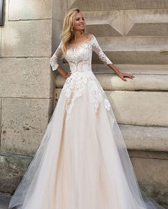 Sleeves Lace Appliqued Champagne Wedding Dress For Bride 2017 A Line Dropped. Sleeves Lace Appliqued Champagne Wedding Dress For Bride 2017 A Line Dropped Waist Scoop Bridal Dresses Wedding Gown. Dream Wedding Dresses, Bridal Dresses, Prom Dresses, Modest Wedding, Conservative Wedding Dress, Elegant Wedding, Sleeve Wedding Dresses, Classy Wedding Dress, Wedding Vintage