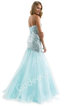 Strapless Prom Light Blue Sequined Fit and Flare Tulle Dress