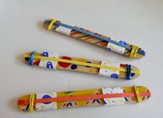 Lentil-make your own harmonica music instrument using 2 craft sticks, 3 rubber bands, paper, and tape (a little more festive than the first one) Instrument Craft, Making Musical Instruments, Homemade Instruments, Music Instruments, Library Activities, Activities For Kids, Creative Activities, Projects For Kids, Crafts For Kids