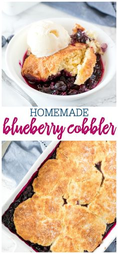 Delicious blueberry cobbler has a fluffy biscuit top and tons of juicy blueberries. Serve it with a scoop of vanilla ice cream for the perfect summer treat! Blueberry Cobbler Recipes, Fruit Cobbler, Blueberry Desserts, Chocolate Cobbler, Chocolate Biscuits, Chocolate Recipes, Delicious Desserts, Dessert Recipes, Yummy Food