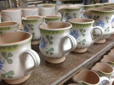 Small jugs in Clover in decorating area - waiting for their firing in the kiln. Different Patterns, Different Shapes, Irish Pottery, Pottery Patterns, Kitchenware, Tableware, Irish Eyes, Pottery Bowls, Bobs