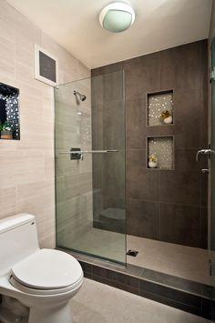Modern Master Bathroom with Wall Tiles, Recessed shower niche, Daltile Fabrique Creme Linen Porcelain Field Tile, flush light