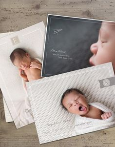 Simply Announcing Collection www.laughandgrowpress.com Birth Announcement templates for photographers featuring images by Emily Burke Photography