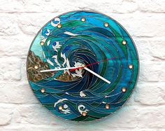 Stained glass LED wall clock, Hand painted round clock,Stain Glass Night Light, Marine ticker, Sea storm wall decor,Blue water painting