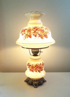 Vintage Large Hurricane Lamp And Night Light With Painted Flowers And Brass  Base And Hardware