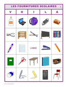 VOILÀ pour LES FOURNITURES SCOLAIRES.  2 sets of French bingo cards for school supply vocabulary.