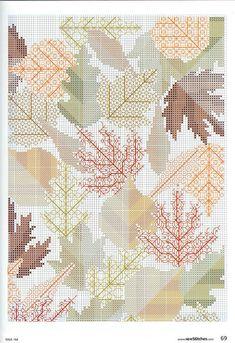 5 of 5 Cross stitch & Blackwork autumn leaves.-schemes (p. 8) | Learning Crafts is facilisimo.com.