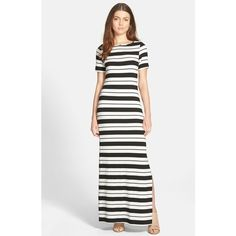 Amour Vert 'Theodora' Stripe Jersey Maxi Dress (1 755 ZAR) ❤ liked on Polyvore featuring dresses, brussles stripe, side slit dress, white short sleeve dress, jersey knit dress, stripe dress and white jersey dress