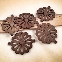 50mm Circle Wood Charms 5pcs / Same Day Shipping / WC103 by BsEce