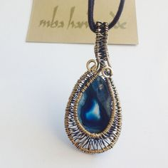 Natural Stone Blue Agate Crystal Slice Brass Wire Wrapped Vintage Pendant #MBAHandmade #Wrap