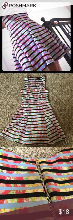 ⏰30%⬇️BNDLS⏰ Girlie Girl Stripped Scuba Dress Feel girlie and sexy in this My Michelle sleeveless dress. Princess seams at bodice create a feminine silhouette. Zips up in the back. Size 5 (juniors), fits S/M. For the reference, I am 36B and wear size Medium tops. ❤️ Get the look. Make an offer.    Thank you for viewing and sharing. Be sure to check out the rest of my eclectic closet. [ID103] My Michelle Dresses