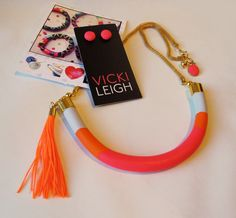 Rock this Lucky U fluro neon Necklace by VickiLeighJewellery on ETSY