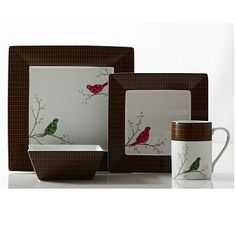 222 Fifth Argyle Bird 16-pc. Square Dinnerware Set
