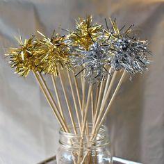 Handmade Tinsel Stir Stick Gold or Silver As Seen in BRIDES MAGAZINE. $6.00, via Etsy.