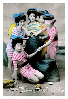 This set from Okinawa Soba contains colorized photos of mostly geisha and maiko posing as bathing beauties during the Meiji and Taisho eras. Japanese Swimsuit, Taisho Era, Meiji Era, Colorized Photos, Image Plate, Wet Hair, Bathing Beauties, Old Postcards, Bikini Photos