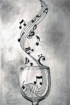 Theme musique, sound of music, music is life, music and art, music notes ar Music Drawings, Pencil Drawings, Art Drawings, Music Artwork, Music Painting, Painting Canvas, Heart Pencil Drawing, Pencil Shading, I Love Music