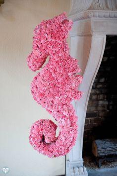 The seahorse I may create for a beach-themed wedding.    #seahorse flower arrangement #wedding