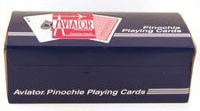 PINOCHLE PLAYING CARDS-AVIATOR (12pk) by The United States Playing Card Co, Cincinnati, Ohio. $24.95. 12 new sealed decks of Aviator Pinochle regular index playing cards by Bicycle.  These Unique Decks are made up of 48 Cards in four suits, ace through nine, with two of each card in a suit.  THEY ARE FOR PINOCHLE ONLY!!! Check out my other auctions and pay only $1.50 S&h after first item.
