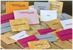"""bridal shower game """"Backwards Charades"""": rather than having one person act out the words for their team, each team had to act out the more player involved (listed on site) words to the bride."""