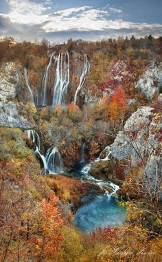 Autumn landscape in the National park Plitvice lakes in Croatia.