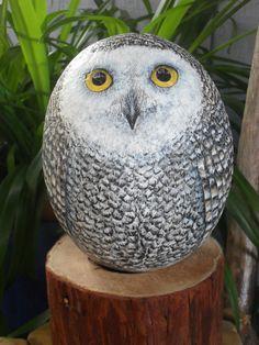 OOAK Snowy Owl Rock on White Cedar Post