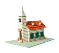 Toy for building a church with bricks and cement.More than 300 pieces.