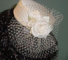 Pillbox Wedding Hat  Champagne Silk Dupioni  Ready to by AnnLeslie, $195.00