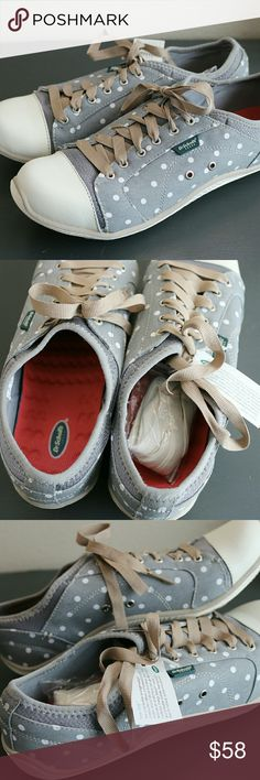 OFFER ME 50% OFF SALE/  Dr Scholls Jaime Sneaker Dr Scholls Jaime Sneaker.  NWT.  Gray polka dots.  Super Cute.  SIZE 9.5  I would say a small 9.5 or even a 9 would fit these.  They are slip ons with laces to tighten. Dr. Scholl's Shoes Sneakers