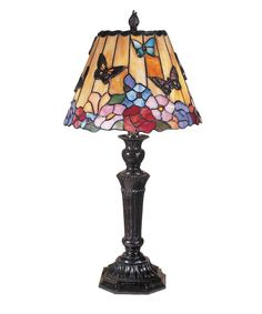 Dale Tiffany TT100587 2 Light Butterfly /Peony Tiffany Table Lamp In Fieldstone with Hand Rolled Art Glass Shade is made by the brand Dale Tiffany. It has a part number of TT100587.