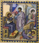 The prophet Nathan confronts David about his adultery with Bathsheba (at right), in this illustration from the Paris Psalter in the National Library of France