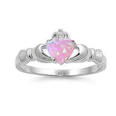 Pink Opal Claddagh Ring .925 Sterling Silver Sizes 4-12-$10.19