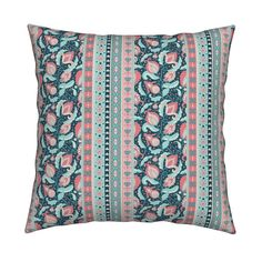 Catalan Throw Pillow featuring Indian boho flowers by argunika | Roostery Home Decor