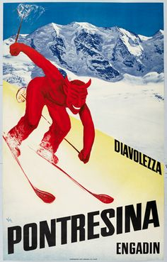 1930 Alex Diggleman poster - Devil skiing at Pontresina vintage travel poster.