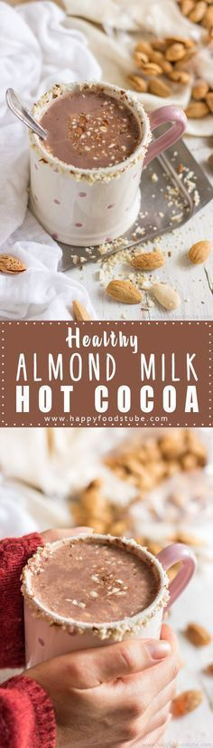 Healthy Almond Milk Hot Cocoa. Vegan & dairy-free recipe. Ready in 5 minutes and only 4 ingredients to enjoy this cup of delicious hot drink via @happyfoodstube {wine glass writer}