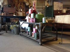 """Vintage Industrial """"Cart"""" Coffee Table with Steel Caster Wheels and Barn Wood $375"""