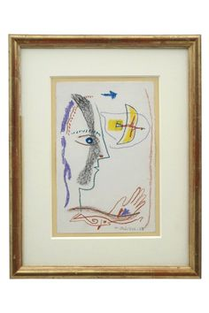 Abstract crayon drawing of face and hand with bird and fish by Michel Debieve (1931- ). France, 1965