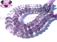 Pink Amethyst Faceted Roundel (Quality A+) Shape: Roundel Faceted Length: 18 cm Weight Approx: 26 to 28 Grms. Size Approx: 9 to 12 mm Price $32.80 Each Strand
