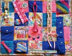 Watercolor Splashes on this Fidget Blanket Lap Quilt for