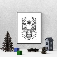 black and white, deer antlers, printable wall art, scandinavian art, stag print