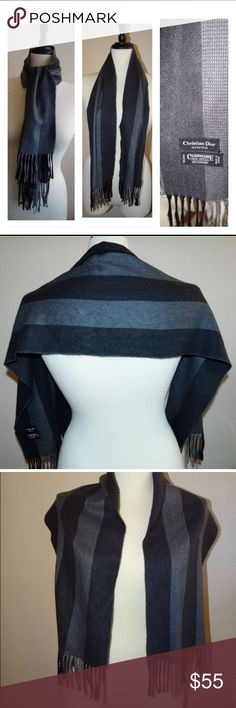 """Dior Cashmere Scarf Shoulder Shawl You will be purchasing a pre-owned Christian Dior Monsieur Cashmaire Scarf •Stripped Dark and Light Gray color •Has fringes at both ends •Unisex for Women or man •RN 61486 •100% Acrylic •Size 47 1/2 length by 12"""" Wide •Great shoulder wrap, scarf, face or nose cover will sure to keep you warm •ALL SALES ARE FINAL ON THIS ITEM!!! Dior Accessories Scarves & Wraps"""