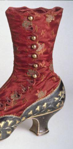 ~Boots, 1883. Kidskin, silk satin brocade, silk thread, brass buttons. No label~