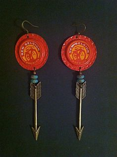 I WANT THESE!! New Belgium Brewing  Recycled Bottle Cap Earrings by Kangarubenoff, $20.00