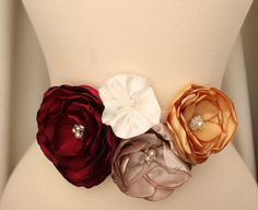 Bridal Fl Sash Belt Two Piece Cranberry Champagne Gold Ivory Autumn Fall Winter Wedding Bridesmaids Sashes Many Colors