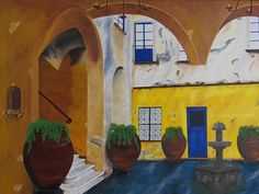 "Oil painting tilted ""Capri, Italy II"", done on a 36"" x 48"" x 1.5"" canvas. SOLD"