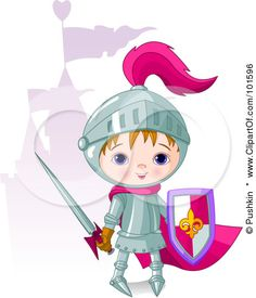 Royalty-Free (RF) Clipart Illustration of a Cute Boy Knight Standing Near A Purple Castle by Pushkin