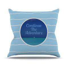 "Deepti Munshaw ""Continue The Adventure"" Blue Aqua Outdoor Throw Pillow"
