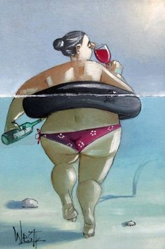 Message in a bottle, keeping me afloat Art And Illustration, Illustrations, Frida Art, Plus Size Art, Fat Art, Arte Popular, Whimsical Art, Funny Art, Beach Art