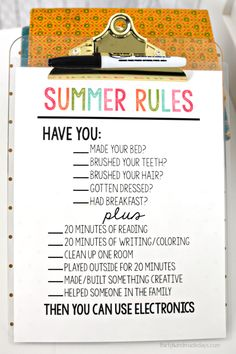 Printable Summer Rules www.thirtyhandmadedays.com - help get kids on track and stay off electronics.