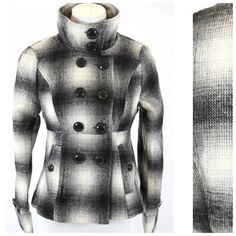 "Black & White Plaid Check High Collar Coat Jacket Black & White Tweed Jacket  Small  Retail $250  Beautiful versatile jacket.  Love the collar, it can be worn so many different ways as shown in the photos.  Double breasted.  Pockets on each side.  Photos do not do justice to this jacket.  Fully lined.  90% polyester, 10% wool.  Please check my closet for many more items including jewelry, designer clothing, shoes, handbags & more!  Armpit to armpit 33.5""  Sleeve Length 24""  Waist 28""…"